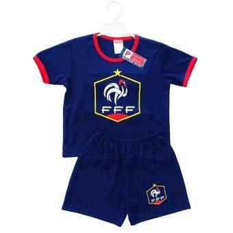 Periquita ไซส์ 1-4 ปี เซ็ต 2 ชิ้น ชุดกีฬาเด็ก ชุดฟุตบอลเด็กทีมชาติฝรั่งเศส สีกรมท่า