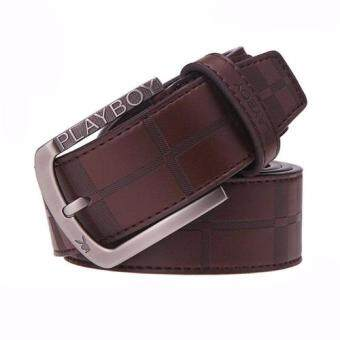 Playboy Men's casual leather belt Korean fashion Buckle belt125CM-Brown