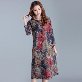 Plus Size Popular Fashion Cotton Pattern Dress - Red - intl