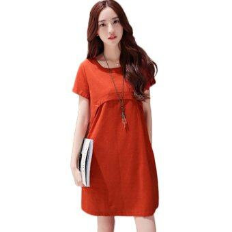 Harga Pregnant woman Dress linen cool loose style - intl