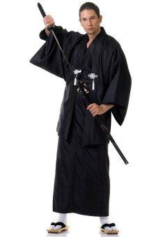 Princess of asia ชุดยูกาตะผู้ชายญี่ปุ่นพร้อมเสื้อคลุมฮาโอริ - สีดำ