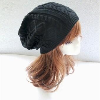 หมวกสตรีหมวกผ้าขนสัตว์อุ่นหนาวไหมพรมถักหมวกทรงกะลาสกี