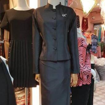 ชุดไทยจิตรดา-ผ้าไหม งานพรีเมี่ยม สุดหรู ชุดดำ ชุดงานพระราชพิธีชุดไทยจิตลดา-สีดำ