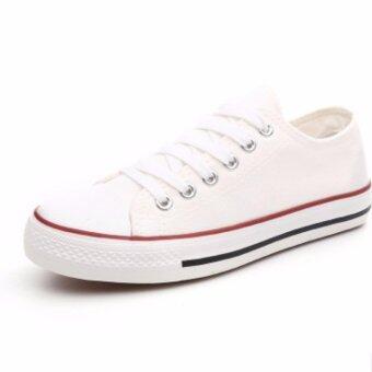 รองเท้าผ้าใบสีขาวแดง