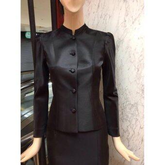 ชุดไทยจิตรดาพิกุลรัตน์ งานทอผ้าไหมฝรั่งเศสสุดหรู สีดำชุดงานพระราชพิธี ชุดไทยจิตลดา -สีดำ