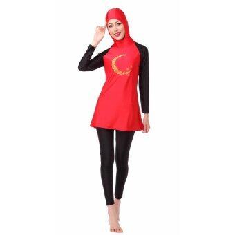 ชุดว่ายน้ำชุดว่ายน้ำใหม่ชุดว่ายน้ำของมุสลิมชุดว่ายน้ำที่อนุรักษ์นิยมสีแดง
