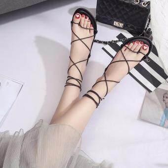 รองเท้าแตะสายหนังยาวพันข้อ สีดำ