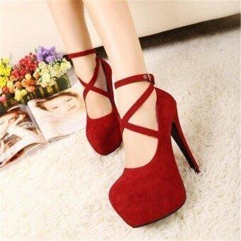 รองเท้าส้นสูงสุภาพสตรีปั๊มสุญญากาศสายคล้องสีแดง (สีแดง) - 2
