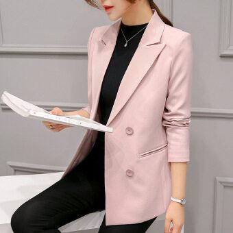 เสื้อสูทแจ็คเก็ตแขนยาวสตรีสไตล์เกาหลีเข้ารูปแบบติดกระดุมเม็ดเดียว (เข้มผง)