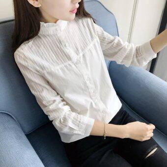 product 1507100045 15442494 efaf9e277a822ed497e0178d8ec8cdd4 product ที่ฉันสามารถซื้อ เสื้อคอตตอนแท้สตรี แขนยาว คอตั้ง มีระบายที่คอ สไตล์เกาหลี  สีขาวเชื้อราคอปก