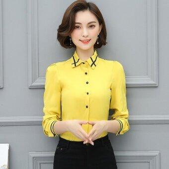 product 1507100286 41562494 8549497c435bdda0bc75dad13903822a product ถูก เกาหลีหญิงแขนยาวฤดูใบไม้ร่วงชีฟองเสื้อเชิ้ตเสื้อเชิ้ตสีขาว  สีเหลือง