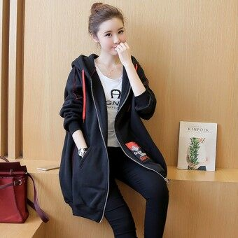 เสื้อนอกสตรี ยาวปานกลาง เข้ารูป สไตล์เกาหลี (สีดำ [บวก])