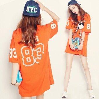 หลวมผ้าฝ้ายฤดูร้อนการ์ตูนพิมพ์แขนสั้นเสื้อยืด (สีส้ม (ที่มีคุณภาพสูงผ้าฝ้าย)) (สีส้ม (ที่มีคุณภาพสูงผ้าฝ้าย))