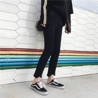 เกาหลีฤดูใบไม้ร่วงใหม่ผิดปกติยีนส์กางเกง (สีขาว)