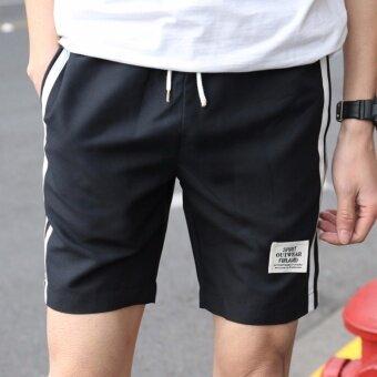 แฟชั่นแบบใหม่กางเกงลำลองขาสั้นผู้ชาย ใส่เดินทาง ออกกำลังกาย ใส่สบาย งานเนี๊ยบสีดำ - 4