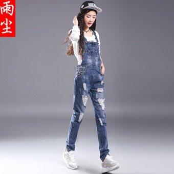 เอวสูงผอมกางเกงชิ้นกางเกงยีน (ผ้ายีนส์สีฟ้า)