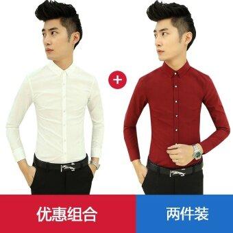 เวอร์ชั่นเกาหลีบวกกำมะหยี่สีขาวชายเสื้อลำลองเสื้อ (สีขาวบวกไวน์แดง)