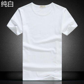 ผ้าฝ้ายสีขาวแขนสั้นฤดูร้อนเสื้อแขนสั้นผู้ชายเสื้อยืด (ว่างเปล่า-สีขาว)