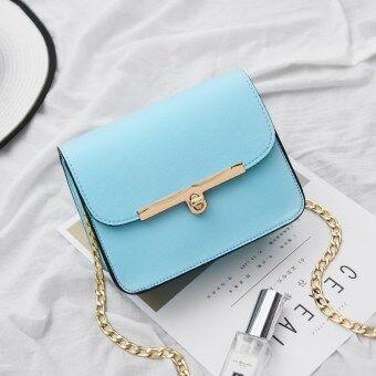 วรรณกรรมสีน้ำตาลอ่อนสไตล์ญี่ปุ่นกระเป๋าสะพายกระเป๋าซองจดหมาย (แสงสีฟ้า)