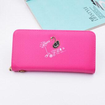 เกาหลีหญิงกระเป๋าเงินนางสาวซิปกระเป๋าคลัทช์ใหม่กระเป๋าสตางค์ (พลัมสีแดง)