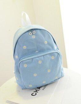 เกาหลีขนาดเล็กดอกเดซี่ลำลองผ้าใบกระเป๋าสะพาย (สีน้ำเงินเข้ม)