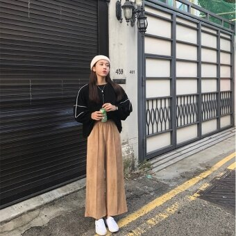 เก๋เกาหลีหนังนิ่มกำมะหยี่ฤดูใบไม้ร่วงใหม่กางเกงลำลอง (สีกากี)