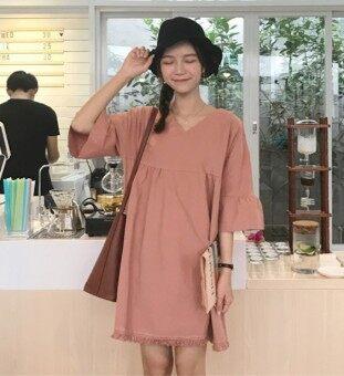 หลวมบ้านเกาหลีพู่ฮอร์นแขนผอมยาวกระโปรงชุด (สีชมพู) (สีชมพู)