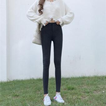 ป่าสีดำแน่นเก้าแต้มดินสอกางเกงกางเกงใหม่ (สีรูปภาพ)