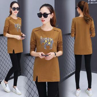 เกาหลีหญิงส่วนยาวใหม่ของเสื้อเสื้อยืด (สีดำช้าง)
