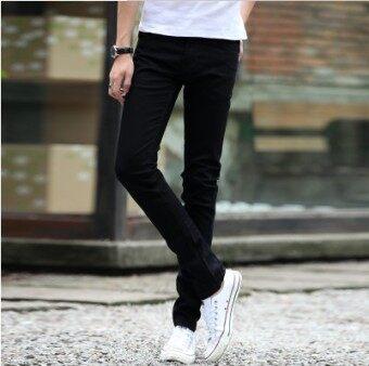 กางเกงผู้ชายขายาว ทรงกระบอกเล็ก สำหรับหน้าร้อน สไตล์เกาหลี (สีดำ)