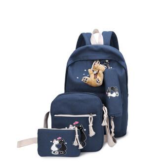 พิมพ์ครอบครัวของวิทยาเขตมัธยมนักเรียนกระเป๋านักเรียนคนรักแมว (สีน้ำเงินเข้ม)