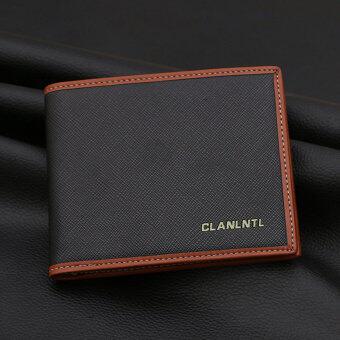เกาหลีชายใหม่ของผู้ชายกระเป๋าสตางค์กระเป๋าสตางค์สั้น (ย่อหน้าสั้นๆ--รูปแบบข้ามสีดำ)