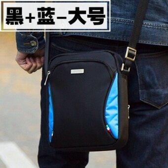 กีฬากลางแจ้งผ้าใบส่วนแนวตั้งของผู้ชายกระเป๋าสะพายแพ็คเก็ต (สีดำ + สีฟ้า-ขนาดใหญ่) (สีดำ + สีฟ้า-ขนาดใหญ่)