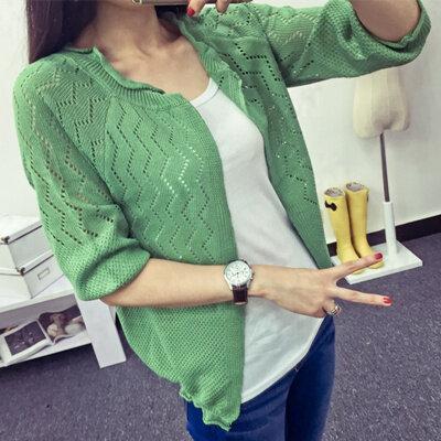 เสื้อฤดูใบไม้ร่วงส่วนบางเสื้อปรับอากาศกลวงเสื้อกันหนาว (แขนถั่วสีเขียว)