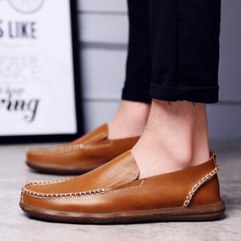 หนังผู้ชายระบายอากาศของผู้ชายรองเท้าลำลองสบายๆรองเท้า (สีน้ำตาลแดง)