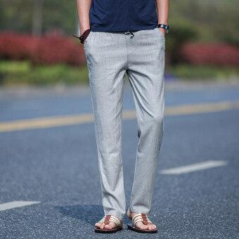 จีนลมชายหลวมตรงกางเกงลำลองผ้าลินินกางเกง (สีเทาอ่อน)