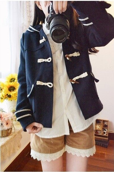 ญี่ปุ่นนักเรียนมัธยมทำด้วยผ้าขนสัตว์แจ็คเก็ต (น้ำเงิน)