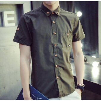 Qizhef Man han edition pure color elastic repair shirt Green - intl