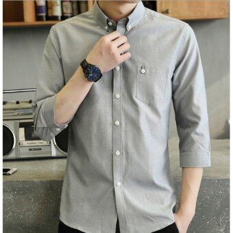 Qizhef Man's pure color leisure with a slim shirt Grey - intl