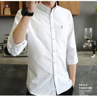 Qizhef Man's pure color leisure with a slim shirt White - intl