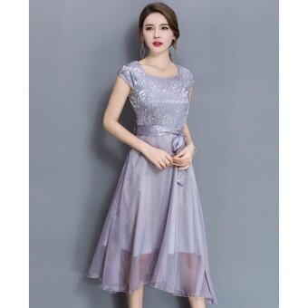 QQ Large size dress Midi evening dress Grey - intl