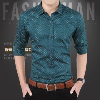 [READY STOCK - High Quality - FAST DELIVERY] SDP New Spring MenShirts Casual Slim Fit Long Sleeve Shirt Designer Brand For MaleBig Size M~5XL (Green) - intl