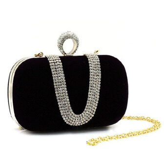Rhinestone Clutch Ring Handbag Shoulder Bag Black - intl