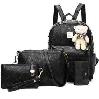 RockLife กระเป๋าแฟชั่นเกาหลี กระเป๋าเป้สะพายหลัง +กระเป๋าสตางค์ผู้หญิง + กระเป๋าสะพายข้าง + พวงกุญแจหมี เซ็ต 4 ใบ(สีดำ) – R1106