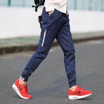 Save กางเกงวอม เอวยางยืด ขาจ้ำยางยืด แต่งซิบ (สีน้ำเงิน) รุ่น 116