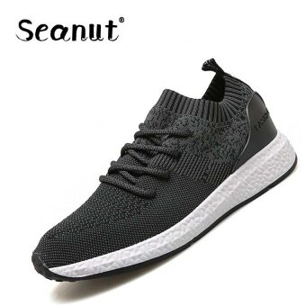Harga Seanut Men's Flying woven shoes breathable mesh shoes casual shoes(Black) - intl