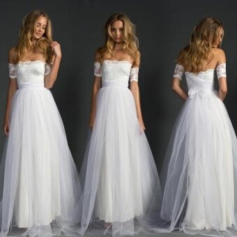 Separately Grace Lace Dresses Lace Tulle Bridal Gowns A-Line Beach Wedding Dress - intl
