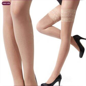 Sexy Women Sheer Lace Top Thigh High Sexy Lingerie Stockings Beige