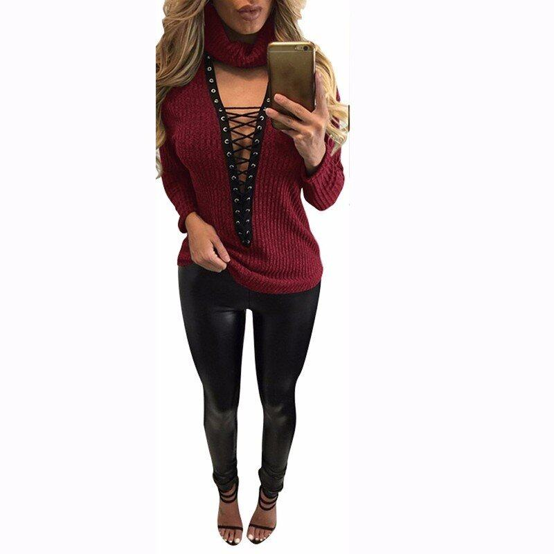 Sexy ZANZEA Pullover Women Sweaters Casual Bandage Knitwear Rib Jumper Pull Femme Sexy Halter V-neck Long Sleeve Tops (Wine Red) - intl