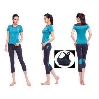 ประเทศไทย SIBOON ชุดออกกำลังกาย ชุดโยคะ ฟิตเนส เสื้อแขนสั้น บรา กางเกงขาสี่ส่วน สำหรับผู้หญิง Sport and Yoga Suit Top and Long (Blue)